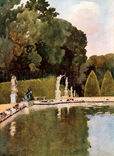 The Fountain of Diana, Versailles. Illustration for Royal Palaces & Gardens (A&C Black, 1916).