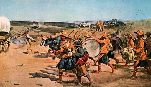 Over the Veldt. Drums and Pipes of the 91st (Argyllshire) Highlanders. Illustration for Scotland for Ever (Hodder and Stoughton, c 1900).