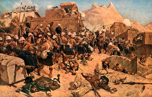 Kandahar. The 92nd Highlanders and 2nd Goorkhas Storming Gandi Mullah Sahibdad. Illustration for Scotland for Ever (Hodder and Stoughton, c 1900).