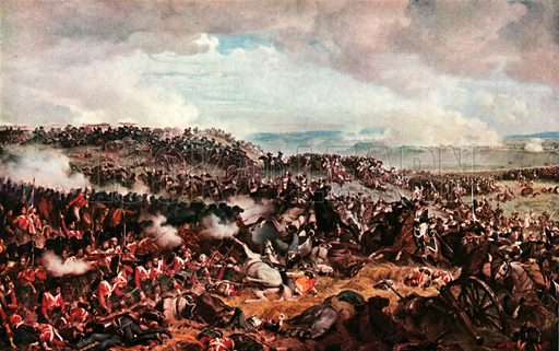 The Battle of Waterloo. Cuirassicrs Charging Highlanders in Square. Illustration for Scotland for Ever (Hodder and Stoughton, c 1900).