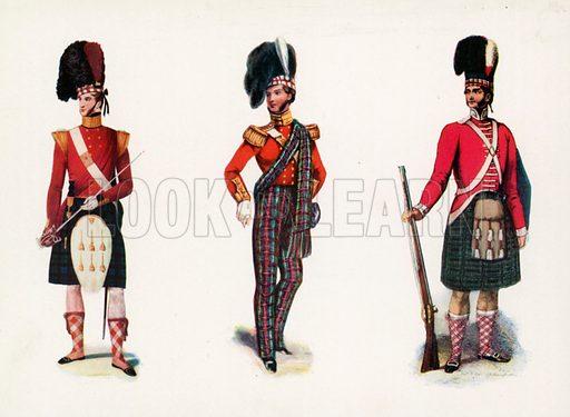 Officer Black Watch 1835. Officer Seaforth Highlanders 1849. Private Highland Light Infantry 1787. Illustration for Scotland for Ever (Hodder and Stoughton, c 1900).