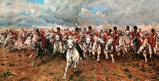 """""""Scotland for Ever!"""" Charge of the Scots Greys at Waterloo. Illustration for Scotland for Ever (Hodder and Stoughton, c 1900)."""