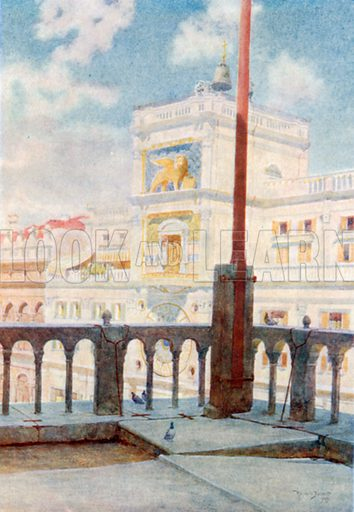 The Clock Tower from Gallery of San Marco. Illustration for Venice by Beryl de Selincourt (Chatto & Windus, 1907).