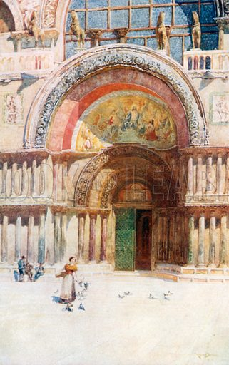 The Doorway of San Marco. Illustration for Venice by Beryl de Selincourt (Chatto & Windus, 1907).
