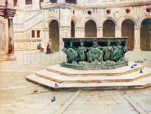 Bronze Well-Head by Alberghetti, Courtyard of Palazzo Ducale. Illustration for Venice by Beryl de Selincourt (Chatto & Windus, 1907).