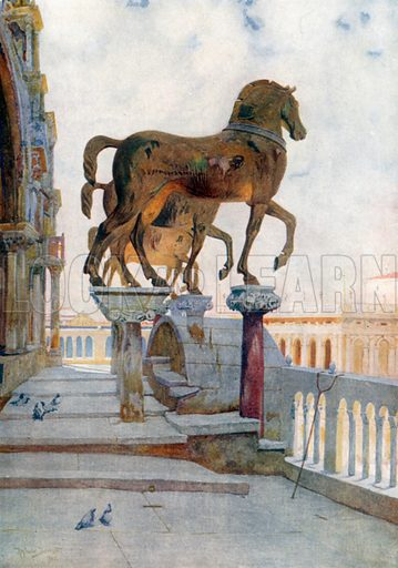 The Horses of San Marco, looking South. Illustration for Venice by Beryl de Selincourt (Chatto & Windus, 1907).
