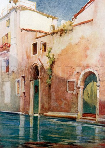 A Side Canal. Illustration for Venice by Beryl de Selincourt (Chatto & Windus, 1907).