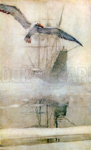 The Albatros Breaks the Ice-Spell. Illustration for A Day with Samuel Taylor Coleridge by May Byron (Hodder & Stoughton, c 1915).