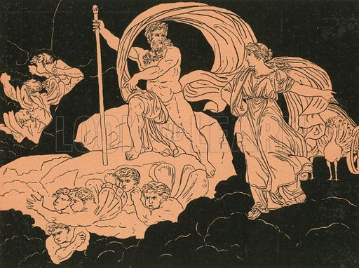 Juno and Aeolus. Illustration for Stories from Virgil by Alfred J Church (Seeley, 1882).