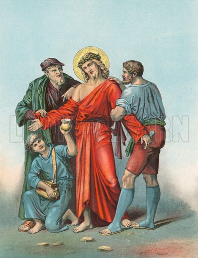 Station X Jeasus is Stripped of his Garments and Offered Vinegar and Gall. Illustration for Beautiful Pearls of Catholic Truth (John Duffy, c 1880).