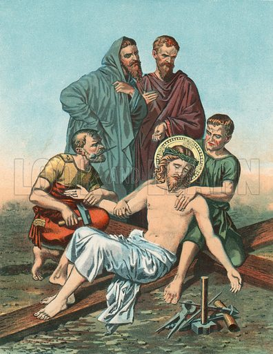 Station XI Jesus is Nailed to the Cross. Illustration for Beautiful Pearls of Catholic Truth (John Duffy, c 1880).