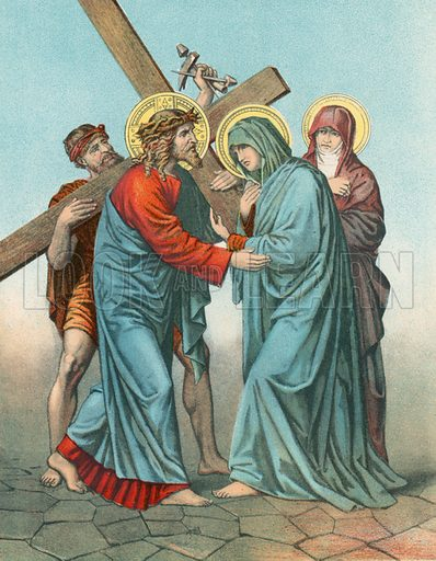 Station IV Jesus Carrying the Cross, Meets his most Afflicted Mother. Illustration for Beautiful Pearls of Catholic Truth (John Duffy, c 1880).