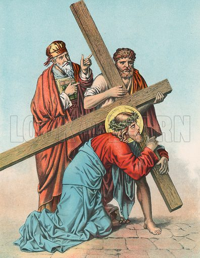 Station III Jeasus Falls the First Time under the Cross. Illustration for Beautiful Pearls of Catholic Truth (John Duffy, c 1880).