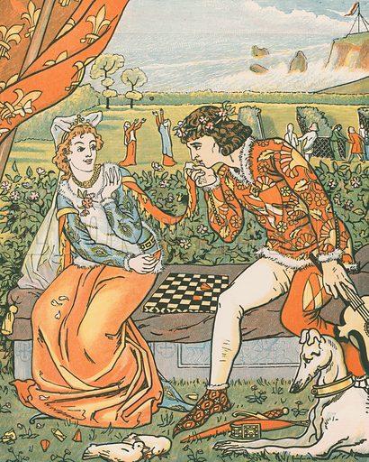 Dorigen and Aurelius in the Garden. 'Have mercy, Swete, or ye wol do me deye.' Illustration for Canterbury Tales by Geoffrey Chaucer, arranged by HR Haweis (Chatto & Windus, c 1895).