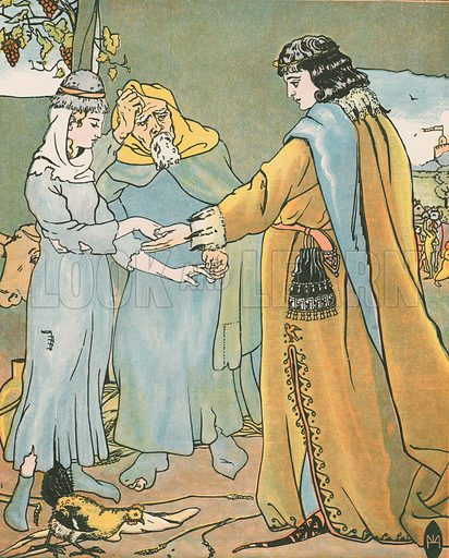 Griselda's Marriage. 'This is ynough, Grisilde myn, Quod he.' Illustration for Canterbury Tales by Geoffrey Chaucer, arranged by HR Haweis (Chatto & Windus, c 1895).