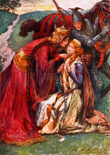 Queen Guinevere welcomes Enid. Illustration for Children's Stories from Tennyson by Nora Chesson (Raphael Tuck, c 1905).