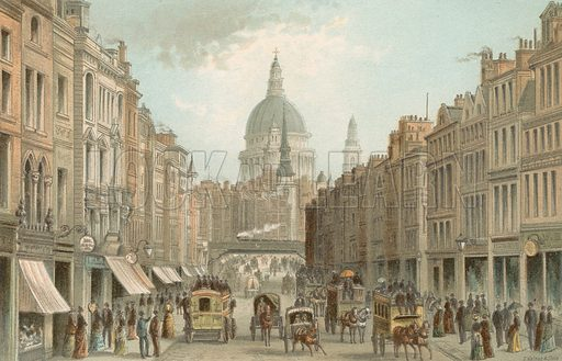 Fleet Street and St Pauls. Illustration for English Scenery (T Nelson, 1889). Chromolithographs.