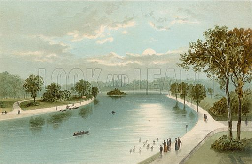 The Serpentine, from the Bridge. Illustration for English Scenery (T Nelson, 1889). Chromolithographs.