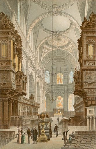 The Choir St Paul's Cathedral. Illustration for English Scenery (T Nelson, 1889). Chromolithographs.