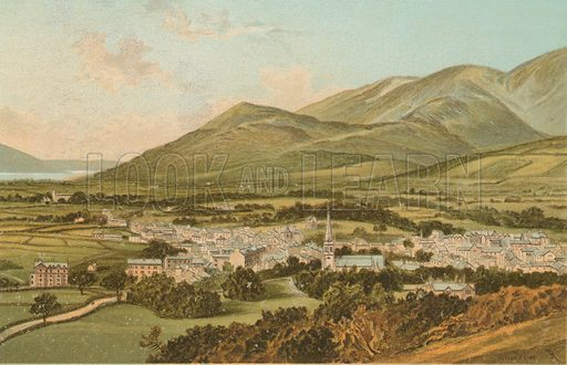 Keswick from Castle Hill. Illustration for English Scenery (T Nelson, 1889). Chromolithographs.