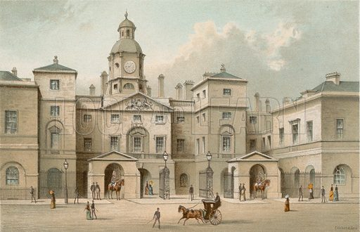 The Horse Guards. Illustration for English Scenery (T Nelson, 1889). Chromolithographs.