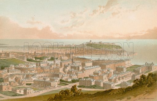 Scarborough from Oliver's Mount. Illustration for English Scenery (T Nelson, 1889). Chromolithographs.