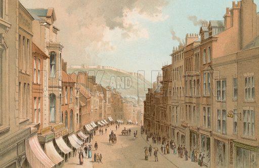 Eastborough – Scarborough. Illustration for English Scenery (T Nelson, 1889). Chromolithographs.