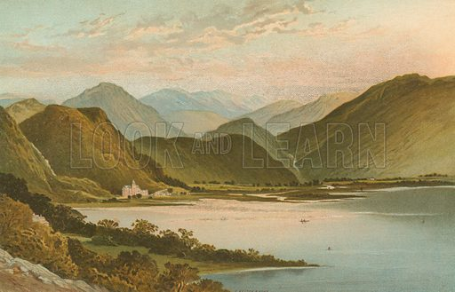 Derwent Water. Illustration for English Scenery (T Nelson, 1889). Chromolithographs.