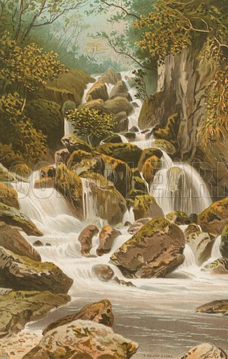 Lodore Falls – Derwentwater. Illustration for English Scenery (T Nelson, 1889). Chromolithographs.