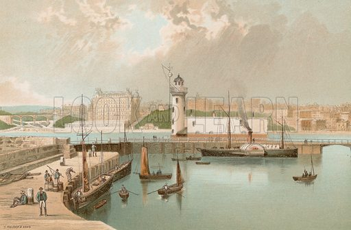Harbour & Lighthouse – Scarborough. Illustration for English Scenery (T Nelson, 1889). Chromolithographs.