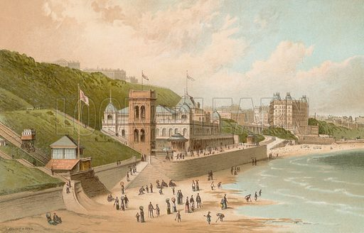 The Spa & South Cliff – Scarborough. Illustration for English Scenery (T Nelson, 1889). Chromolithographs.