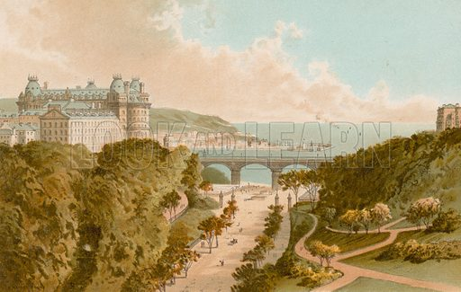 New Road – Scarborough. Illustration for English Scenery (T Nelson, 1889). Chromolithographs.