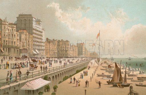 King's Road – Brighton. Illustration for English Scenery (T Nelson, 1889). Chromolithographs.