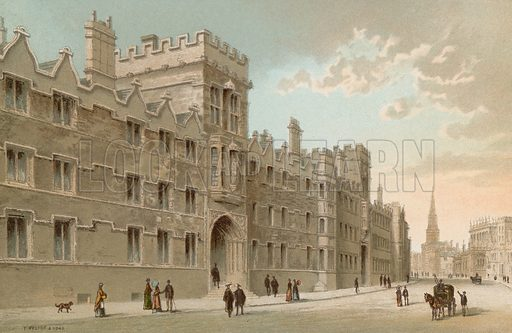University College – Oxford. Illustration for English Scenery (T Nelson, 1889). Chromolithographs.
