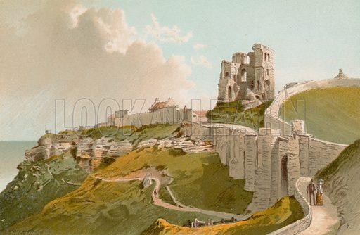 Scarborough Castle. Illustration for English Scenery (T Nelson, 1889). Chromolithographs.