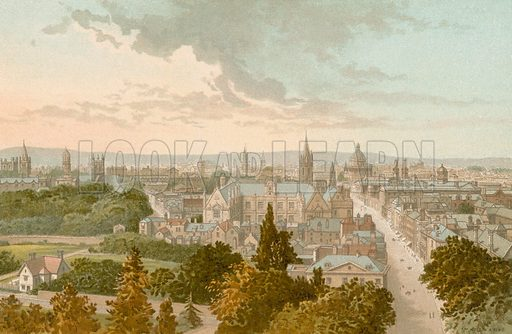 Oxford from Magdalen Tower. Illustration for English Scenery (T Nelson, 1889). Chromolithographs.