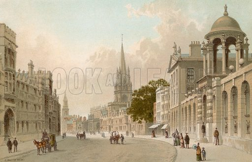 High Street – Oxford. Illustration for English Scenery (T Nelson, 1889). Chromolithographs.