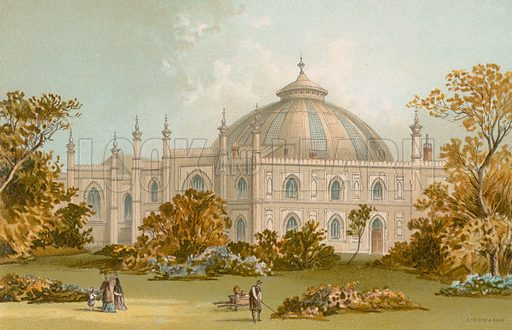 The Dome, Brighton Pavilion. Illustration for English Scenery (T Nelson, 1889). Chromolithographs.