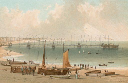 Chain Pier – Brighton. Illustration for English Scenery (T Nelson, 1889). Chromolithographs.