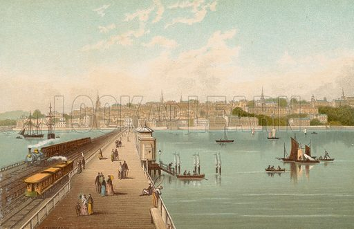 Ryde – Isle of Wight. Illustration for English Scenery (T Nelson, 1889). Chromolithographs.