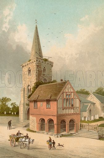 Brading Church and Town Hall--Isle of Wight. Illustration for English Scenery (T Nelson, 1889). Chromolithographs.
