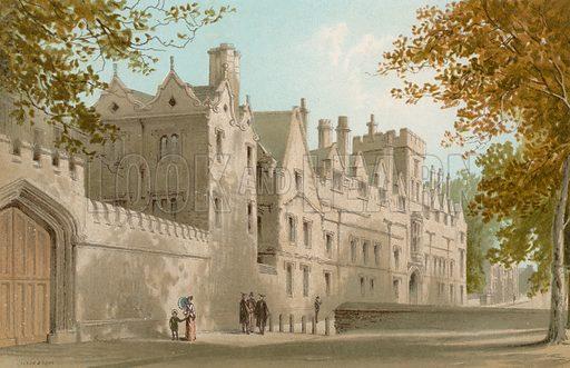 St John's College – Oxford. Illustration for English Scenery (T Nelson, 1889). Chromolithographs.