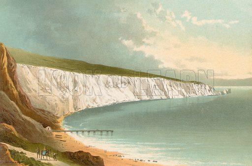 Alum Bay – Isle of Wight. Illustration for English Scenery (T Nelson, 1889). Chromolithographs.