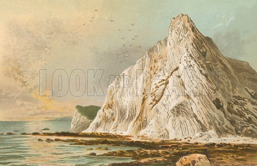 Culver Cliff – Isle of Wight. Illustration for English Scenery (T Nelson, 1889). Chromolithographs.