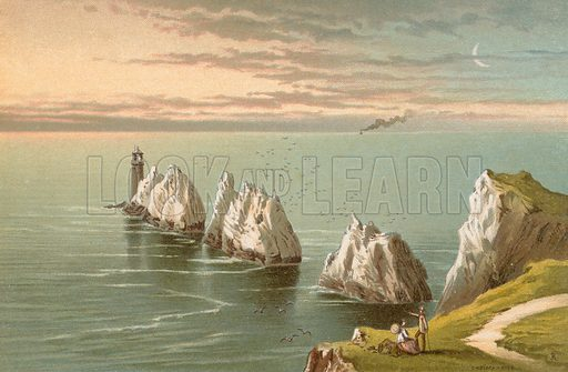 The Needles – Isle of Wight. Illustration for English Scenery (T Nelson, 1889). Chromolithographs.