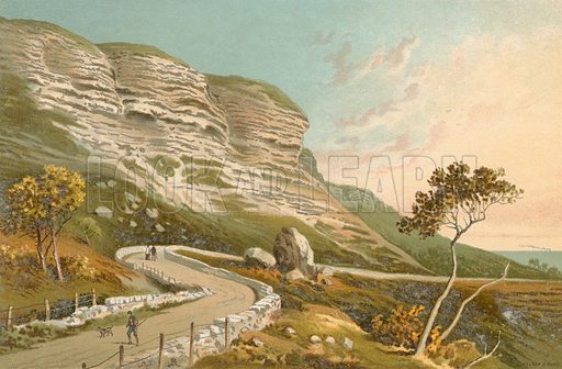 The Undercliff Road – Isle of Wight. Illustration for English Scenery (T Nelson, 1889). Chromolithographs.
