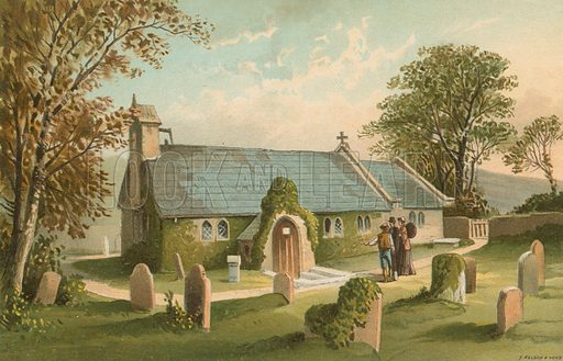 Old Church of St Lawrence – Isle of Wight (The Smallest Church in England). Illustration for English Scenery (T Nelson, 1889). Chromolithographs.