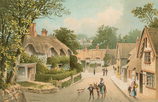 Shanklin Village – Isle of Wight. Illustration for English Scenery (T Nelson, 1889). Chromolithographs.