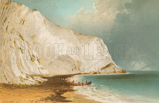 Scratchell's Bay – Isle of Wight. Illustration for English Scenery (T Nelson, 1889). Chromolithographs.