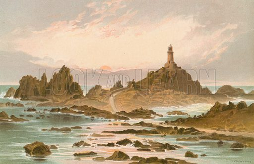 The Corbiere Rocks – Jersey. Illustration for English Scenery (T Nelson, 1889). Chromolithographs.